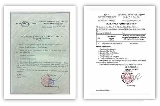 giấy chứng nhận thực phẩm hỗ trợ sinh lý kichmen 1h