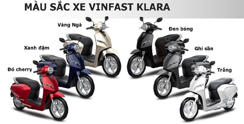 màu sắc xe máy điện Vinfast Klara