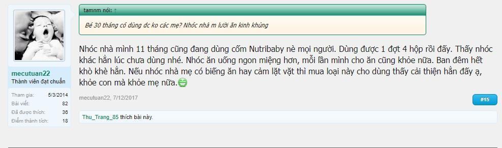 đánh giá cốm vi sinh Nutribaby